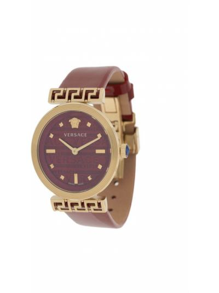 Szary złoty zegarek na skórzanym pasku szafir Versace