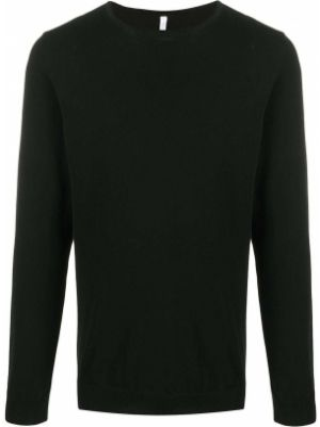 С рукавами черный свитер в рубчик с круглым вырезом Cenere Gb
