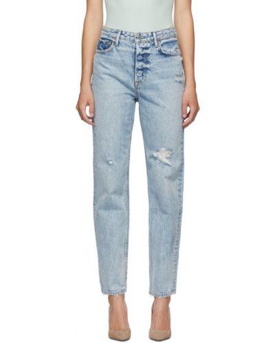 Кожаные серебряные джинсы стрейч с заплатками Grlfrnd