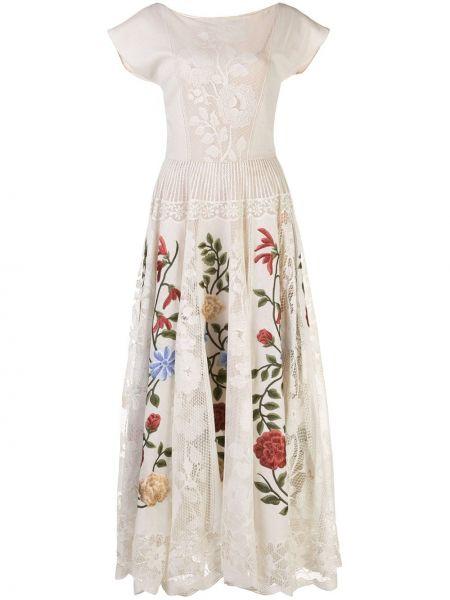 Приталенное ажурное платье с вышивкой с вырезом Oscar De La Renta