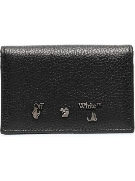 Czarny portfel skórzany z gniazdem z prawdziwej skóry Off-white