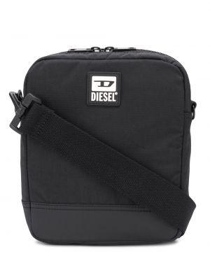 Czarny z paskiem torba z łatami prostokątny Diesel