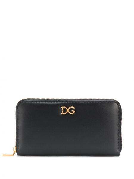 Кожаный черный кошелек на молнии Dolce & Gabbana