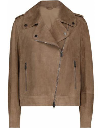 Коричневая кожаная куртка байкерская Brunello Cucinelli