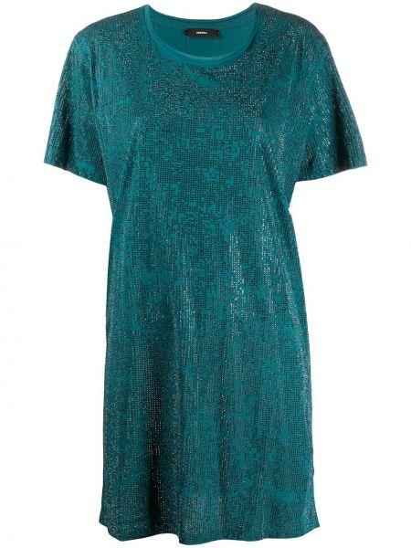 Свободное зеленое платье мини свободного кроя Diesel