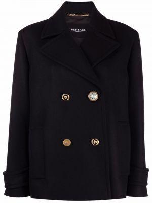 Шерстяное черное пальто с карманами с длинными рукавами Versace