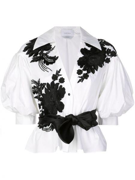 Блузка с бантом с цветочным принтом Marchesa