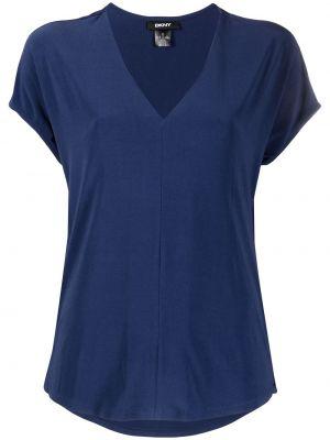 Синяя футболка с V-образным вырезом с короткими рукавами Dkny