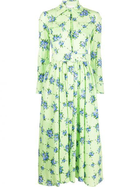 Платье с поясом на пуговицах с цветочным принтом Emilia Wickstead