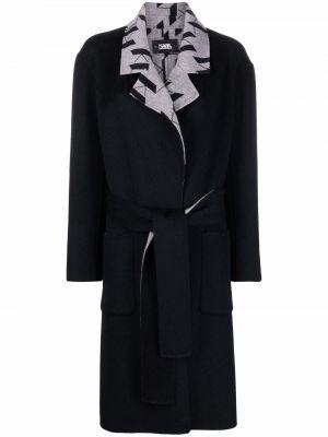Długi płaszcz wełniany - czarny Karl Lagerfeld