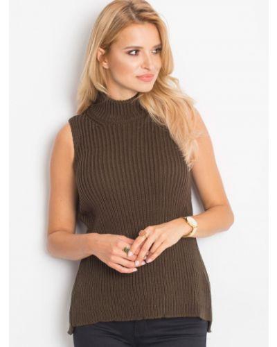 Sweter bez rękawów z akrylu khaki Fashionhunters