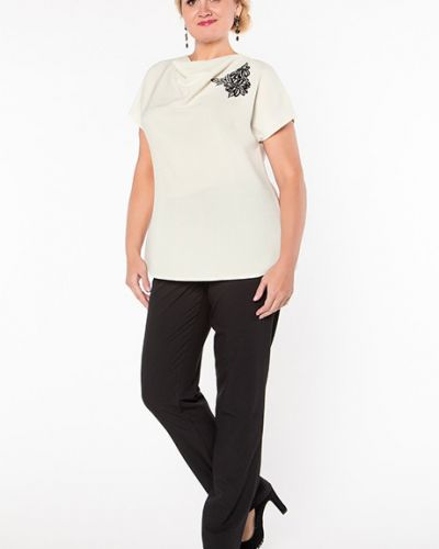 Блузка с коротким рукавом из вискозы айвори Virgi Style