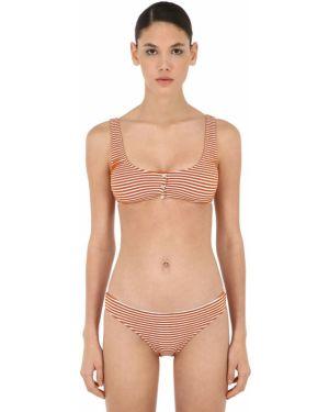 Pomarańczowy bikini w paski perły Albertine