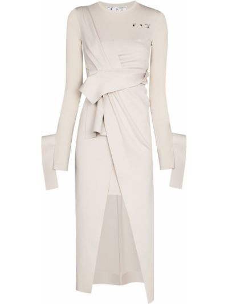 Beżowy sukienka midi z draperią z długimi rękawami Off-white