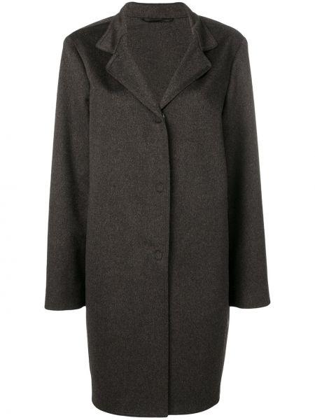 Коричневое шерстяное пальто свободного кроя Liska