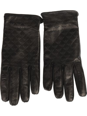 Кожаные перчатки черные Emporio Armani