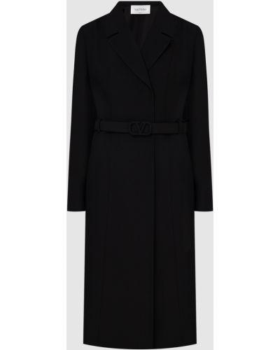 Черное шерстяное пальто Valentino