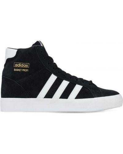 Ażurowy czarny sneakersy na sznurowadłach z prawdziwej skóry Adidas Originals