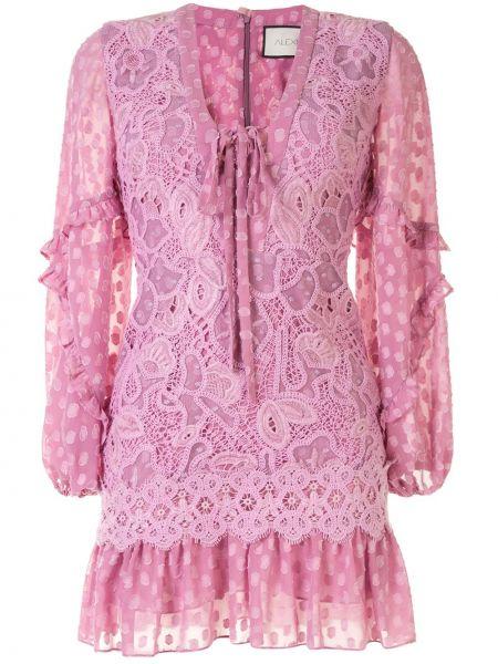 Платье розовое со вставками Alexis