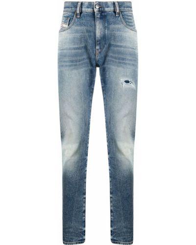 Skórzany niebieski klasyczny jeansy z kieszeniami Diesel