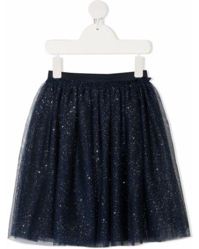 Синяя юбка из фатина до середины колена с глиттером Il Gufo