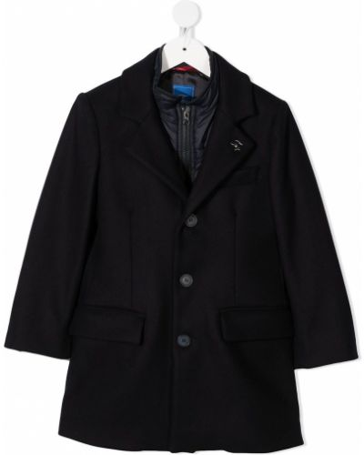 Синее классическое пальто из вискозы с длинными рукавами Fay Kids