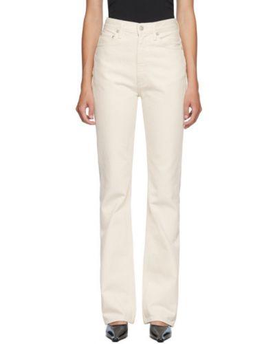 Biały mało jeansy z kieszeniami z logo Agolde