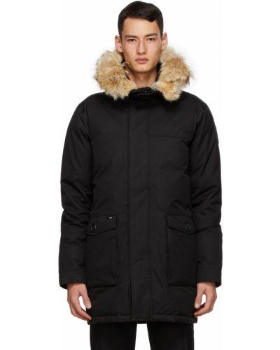 Czarna długa kurtka z kapturem z długimi rękawami Nobis