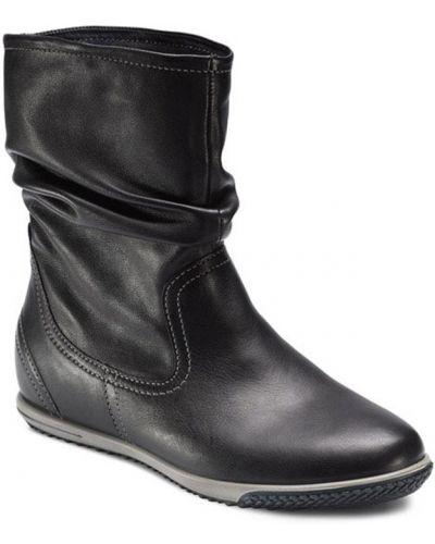 Полусапожки черный на каблуке Ecco
