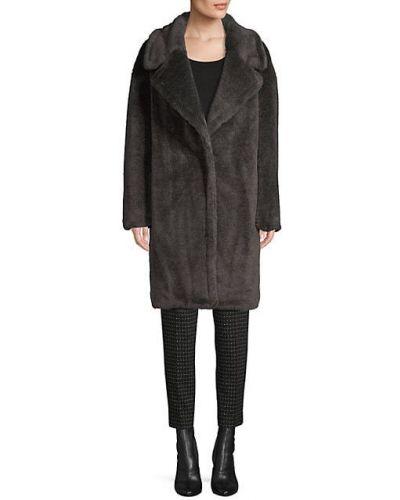 Серое шерстяное длинное пальто с воротником Donna Karan