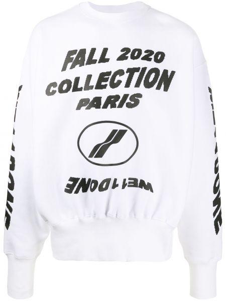 С рукавами белый свитер с круглым вырезом круглый We11done