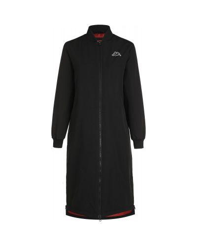 Хлопковая теплая черная куртка с капюшоном на молнии Kappa