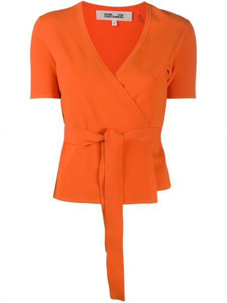 Оранжевый топ с V-образным вырезом с запахом из вискозы Dvf Diane Von Furstenberg