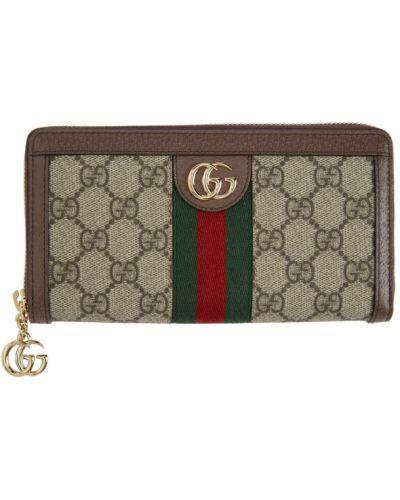Brązowy portfel skórzany z siateczką Gucci