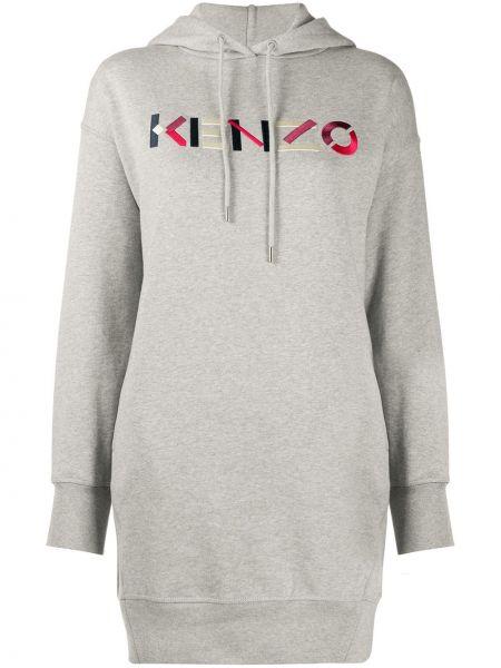 Długo bawełna bluza z kapturem z haftem Kenzo