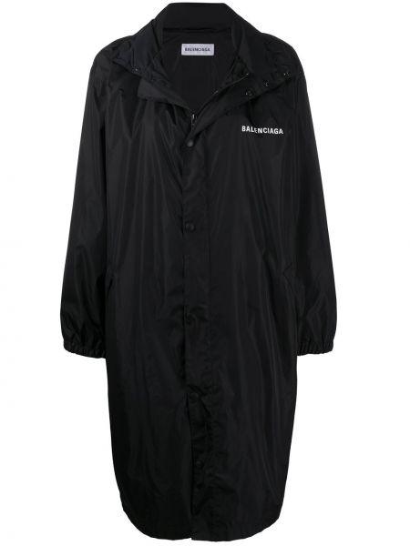 Z rękawami czarny płaszcz przeciwdeszczowy od płaszcza przeciwdeszczowego w połowie kolana Balenciaga
