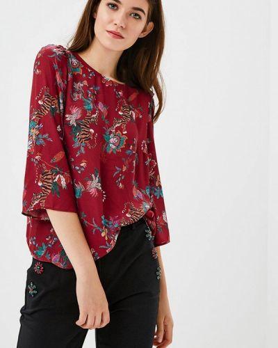 Блузка с длинным рукавом осенняя бордовый Zarina