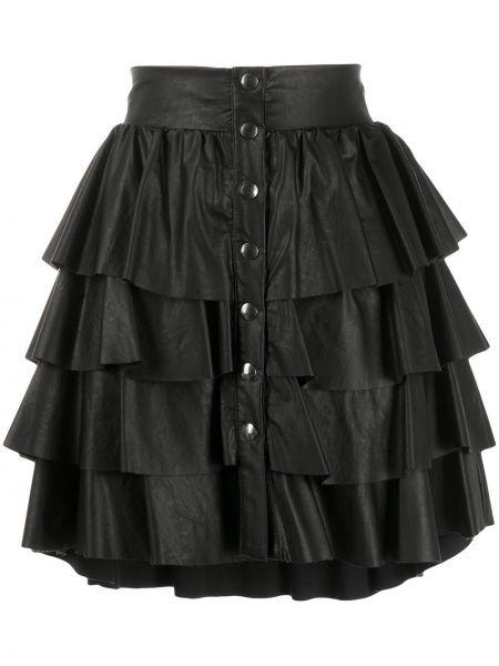 Czarna spódnica mini skórzana rozkloszowana So Allure