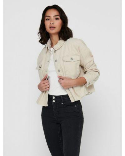Джинсовая куртка оверсайз - бежевая Only