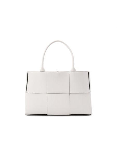 Кожаная белая деловая сумка с перфорацией прямоугольная Bottega Veneta