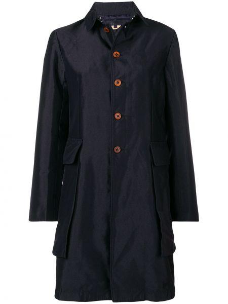 Синее пальто классическое с капюшоном с воротником Comme Des Garçons Comme Des Garçons