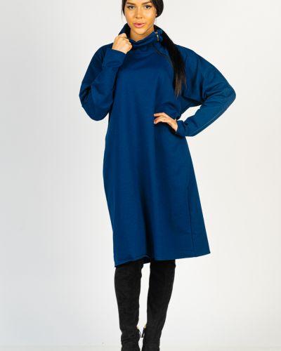 Хлопковое синее платье на молнии для офиса твой фасон