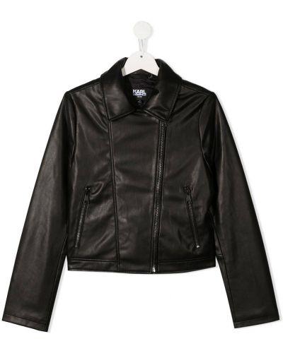 Прямая черная куртка на молнии байкерская Karl Lagerfeld Kids