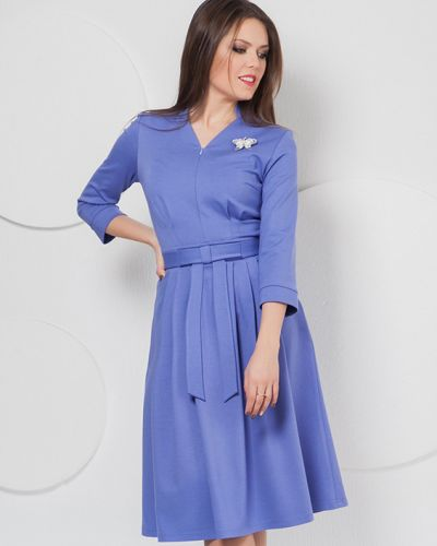 Платье с поясом с V-образным вырезом из вискозы Modellos