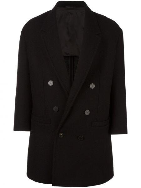 Шерстяное черное длинное пальто двубортное Neil Barrett