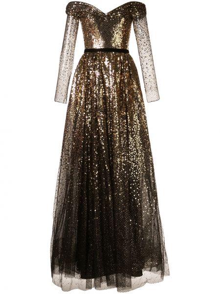 Вечернее платье с прозрачными рукавами с открытыми плечами Marchesa Notte