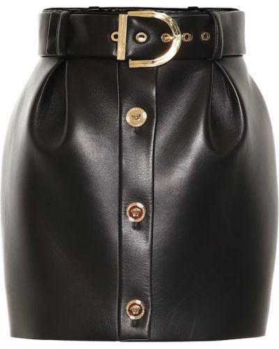 Юбка мини кожаная юбка-колокол Versace