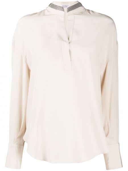 Шелковая блузка с длинным рукавом с воротником свободного кроя на пуговицах Brunello Cucinelli