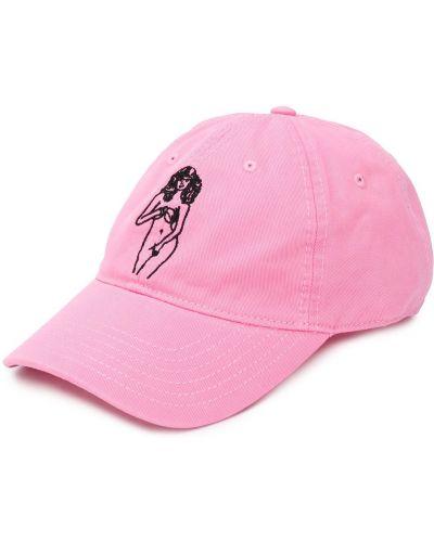Z paskiem bawełna różowy czapka z daszkiem z haftem Palm Angels