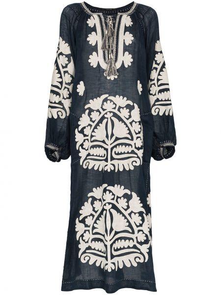 Синее платье миди с вышивкой на шнуровке с воротником Vita Kin